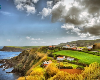 Terceira Island Azores  mountain village ocean rock cliff - Fine art photography print wall hanging gift