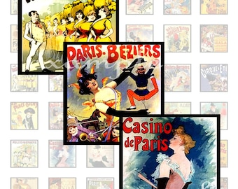 Vintage French Poster Inchies...1x1 Inch...Digital Collage Sheet