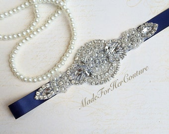 Navy Bridal Sash,Wedding Pearl sash, bridal belt,Bridesmaid Sash, Flower girl Sash, navy flower-girl belt, bridesmaid Belt