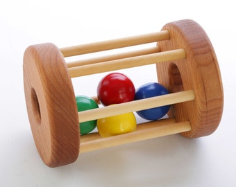 Wooden Tumbler Floor Toy - Montessori-Inspired - Natural Rattle - Wooden Baby Toy