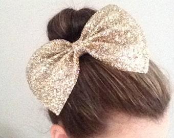 Maxi Gold Hair Bow /  Glitter Bow / Gold Glitter Bow /  Glitter Fabric Bow / Headband / Sparkly Hair Clip /  Bow Hair Clip