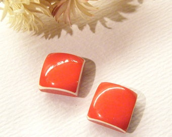 """Pair, Wooden Buttons, Red And White ENAMEL Painted, 9/16"""", ANIMAL CHARITY Donation"""