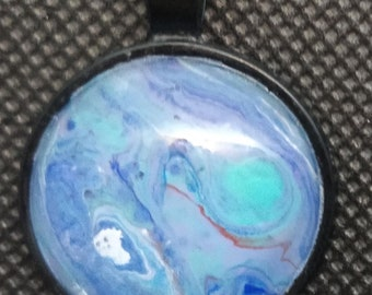 Acrylic Skin Pour Miniature Painting Pendant Aqua Blue White Red