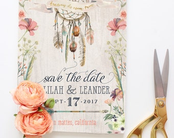 Dreamcatcher Save the Date Cards, Boho Save the Dates, Printable Floral Tribal Save the Dates