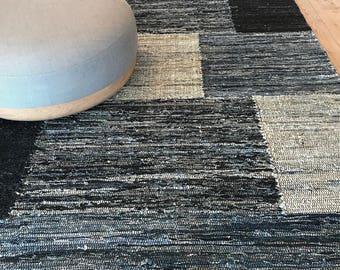 200 x 300 cm/ 7 x 10 ft. Hand woven denim carpet. Scandinavian design up-cycled conscious decor. Reversible & durable rag rug CH-KR-013-C
