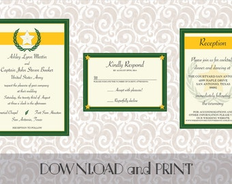 Printable Army/Military Themed Wedding Invitation, RSVP Card and Reception/Info Card