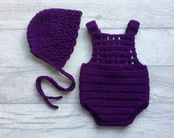 Newborn Purple Crochet Bonnet & Romper Set, Newborn Photo Prop, Baby Outfit, Baby Shower, Soaker, Baby Photography, READY TO SHIP