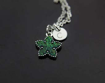 Green Necklace, Star Necklace Silver Star Necklace Initial Necklace Green Star Charm Star Galaxy Jewelry Personalized Necklace Initial Charm