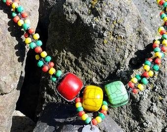 Rasta Hemp Love Charm Beaded Hemp Necklace