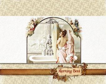 Printable soap labels - Bath product label - Vintage soap band template Customizable design