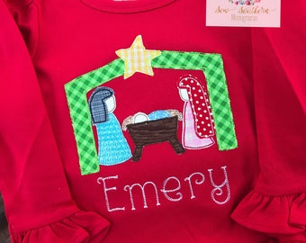 Nativity scene appliqued ruffle tee with name