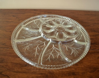 Vintage Snack Tray With Deviled Egg Section, Large Divided Snack Platter