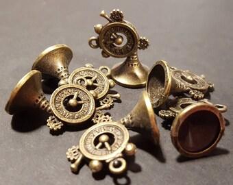 Steampunk Clock Horn Pendant