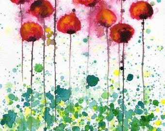 Watercolor Painting: Watercolor Flower Painting -- Art Print --  Plastic Jellyfish -- Pink and Yellow Poppies -- 11x14
