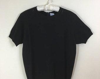 30% Off Sale 70s Black Short Sleeve Back Zip Nylon Sweater Shell Top, Medium