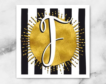 ABC Black/White Stripes-F-poster, print, art print, typography art, Calligraphy, alphabet, initials, letter, letter, letters
