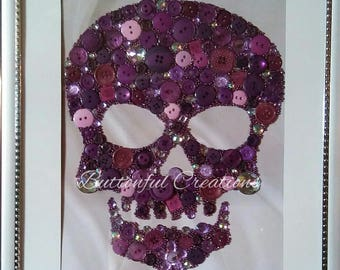 Purple Gemmed Skull wall art button picture girly decor 12x14