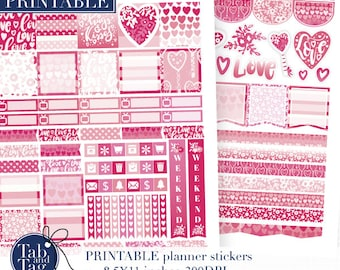Horizontal February planner stickers PRINTABLE for Erin Condren planner. Valentines day printable stickers digital download.