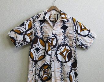 Hawaiian Shirt  Medium Large Tiki Barkcloth Polynesian Bazaar