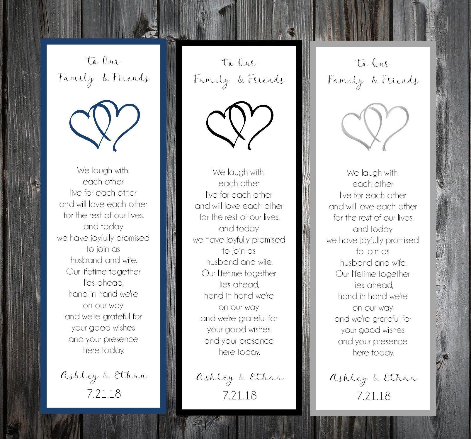 75 Hearts Wedding Bookmarks Favor