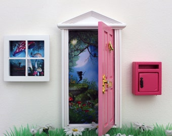 Opening pink fairy door, miniature mail box and fairy window