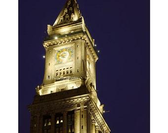 Custom House Clock Tower, Boston, Massachusetts, Boston Art, Boston Photography, Night Photography, Home Decor, Wall Art