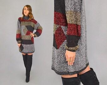 80's Metallic Lurex Sweater Dress