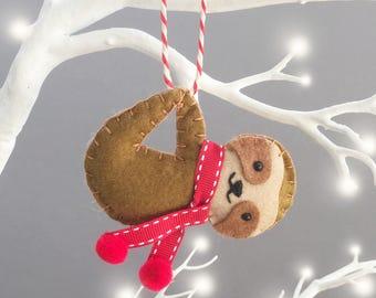 Sloth Christmas Tree Decorations - Sloth Ornament - Sloth Decoration - Christmas Sloth - Personalised Christmas Ornament