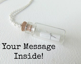 Message in a Bottle Necklace Custom Message Pendant Your Message Choice Personalized Jewelry Silver Chain