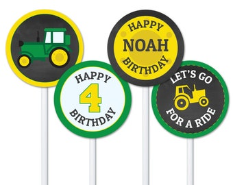 Green Yellow Tractor Cupcake Topper Download, Tractor Birthday, Personalized Cupcake Toppers, Farm Birthday Party Decorations, John Deere