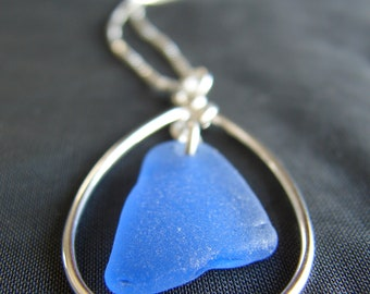 Sea Glass Necklace / beach glass jewelry / sterling silver sea glass jewelry / teardrop necklace / beach wedding / cornflower blue