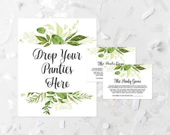 Greenery Drop Your Panties Here Game Printable Lingerie Game Bridal Shower Panty Game Greenery Bachelorette Party Activity Guessing Game 263