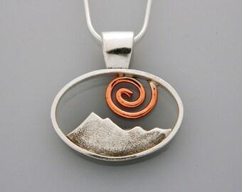 "Mixed metal Mountain jewelry-  ""Spiral Peaks"" mixed metal mountain necklace, landscape jewelry"