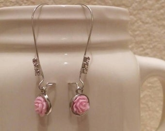 Pink Rose and Rhinestone Earrings