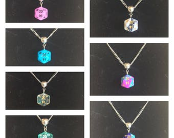 10mm Mini d20 Dice Necklace on Stainless Steel Chain (18 inch)