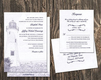 Lighthouse Wedding Invitation - Lighthouse sketch