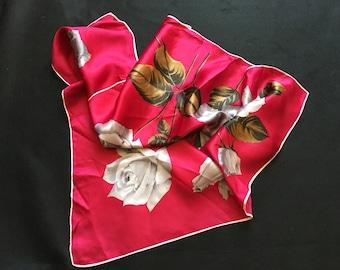 Pretty Vintage Rose Scarf 1960s 1970s