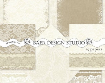 Burlap and Lace Digital Paper, Ivory and Taupe Lace Digital Paper, hochzeitseinladung, wedding invitation paper, digital paper lace, #13034