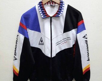 Vintage Lecoq Sportif rare Jacket sports jogging multicolour tribute Germany trainer athletic casual wear Small Size