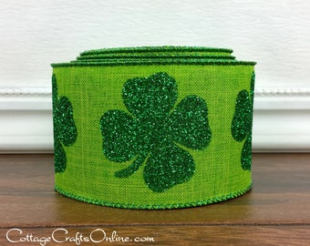 "St Patrick's Wired Ribbon, 2 1/2"",  Shamrocks Green Glitter on Green Faux Linen - TEN YARD ROLL - ""Bold Green Shamrock "", Wire Edged Ribbon"