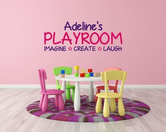 Playroom Wall Decal - Imagine Create Laugh - Kids Room Decal - Playroom Wall Decor - Playroom Decor - Name Wall Decal Sticker - Name Decal