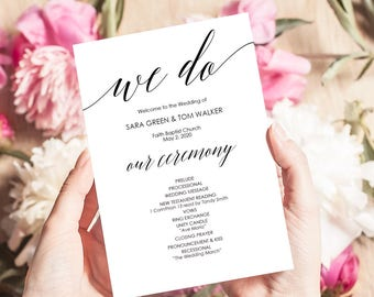Printable Wedding Program - Calligraphy style font - Editable PDF Instant Download - DIY Program Template - 5x7 inches Double sided- #GD0504