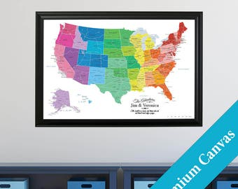 CANVAS Personalized Colorful USA Travel Map  - Push Pin Travel Map - Canvas US Map - Map on Canvas - Canvas United States Map