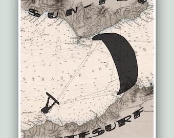 Kitesurf art, Tarifa Windsurfing, Gibraltar Map Art, SUN-FLY-WINDSURF, Adventure poster, Kitesurf decor, Kitesurfer gift, Kitesurfing print