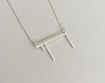 Chai Necklace, Chai Pendant, Sterling Silver Necklace, Sterling Silver Necklace Pendant, Minimalist Necklace, Geometric Necklace, Geometric
