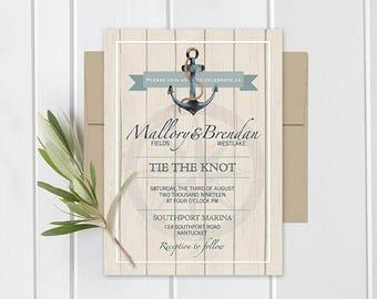 Nautical Wedding Invitation Set Anchor Wedding Invitations Rustic nautical invitations destination beach wedding Printed or DIY Printable