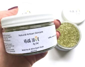 Matcha Mint Bath Salts Natural Bath Soak Green Tea Bath Salts Matcha Bath Soak Vegan Bath Soak Green Tea Spa Gift Epsom Salt Soak