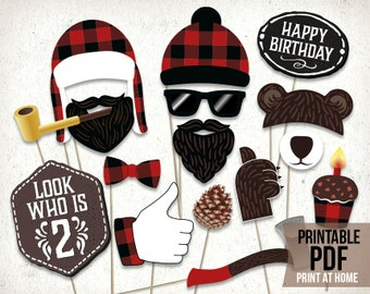 Lumberjack second birthday photo booth props : printable PDF. Lumberjack 2nd bday party printables. Lumberjack toddler plaid party supplies.