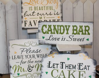 Irish Wedding Sign Set/Clover/Shamrock/Photo Prop/Great Shower Gift/Rustic/Beach/Vineyard/Woodland/St. Patrick's/Green