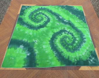 Tie Dye Bandana, 100% Soft Cotton, Hand Tie Dyed in Various Greens.